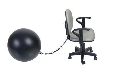 Adjustable office chair attached with large ball and chain - path included Stock Photo - 16987449