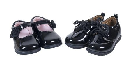 Glanzend zwart lederen formele baby-schoenen voor jongens en meisjes bij speciale gelegenheden - pad opgenomen Stockfoto - 17310157