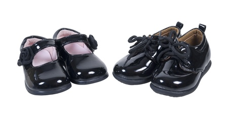 Shiny black leather formal baby shoes for boys and girls on special occasions - path included photo