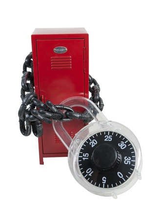Locker Bound by Padlock and Chain to prevent it from opening - path included Stock Photo - 17310167