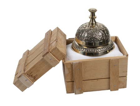 summon: Service bell to summon customer service in a shipping crate - path included