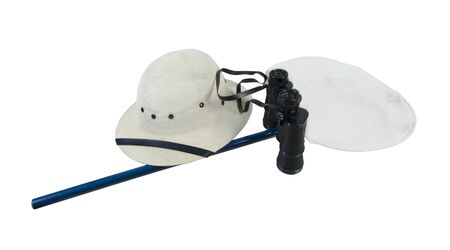 pith: Binoculars Pith Helmet and Butterfly Net