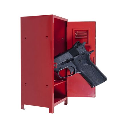 Handgun in a red metal locker with dramatic lighting - path included