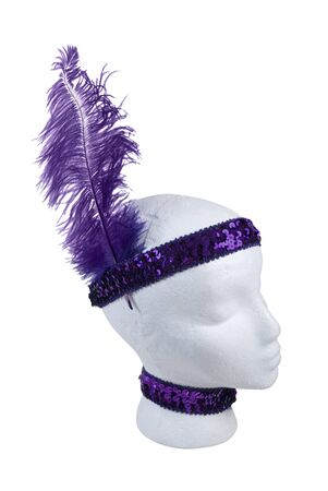 Purple sequin choker and headband with feather - path included
