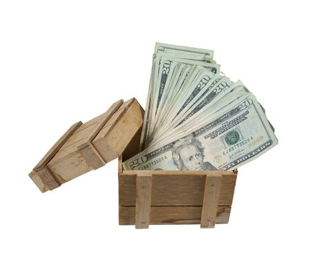 Wooden crate used to protect cargo while being shipped full of money - path included Stock Photo - 18307410