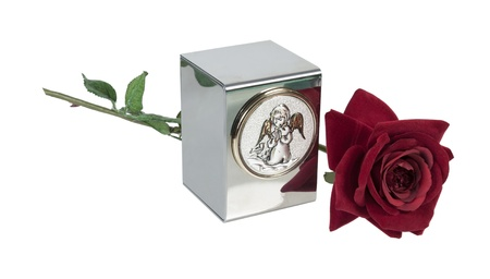 cremated: Baby or small childs urn for holding ashes with angel image on the front with Red Rose - path included