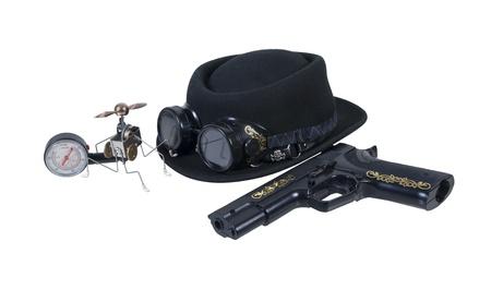 steampunk goggles: Pistola gafas y sombrero Gadget vapor - camino incluido