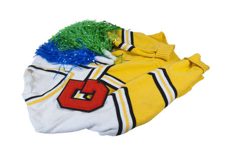 pom poms: Student letterman sweater with letter and Pom Poms - path included Stock Photo