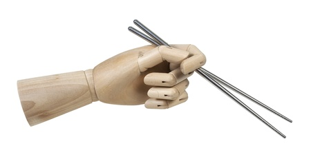 Wooden Hand Holding Metal Chopsticks Stock Photo - 18998325