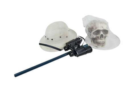 pith: Zombie hunting with Pith Helmet Binoculars and net on a skull - path included