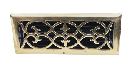 Ornate brass vent used to cover heating ventilation ducts - path included Stock fotó