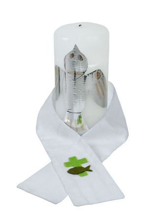 baptismal: Christening Ceremonial candle and Sash worn during the baptismal ceremony - path included