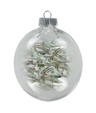 garnishments: Round Christmas Ornament filled with money for the winter season - path included Stock Photo
