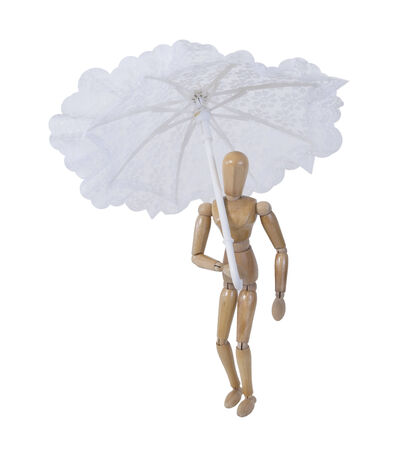 Holding White lace umbrella with a rounded handle for Shade - path included