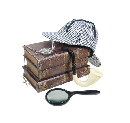 Mystery Books with Deerstalker Cap, Magnifier, Pipe and Pocket Watch - path included