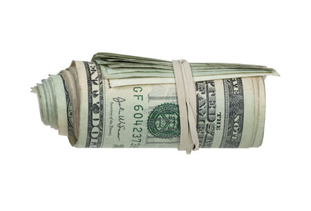Roll of money in the form of many large bills rolled up with a rubberband - path included