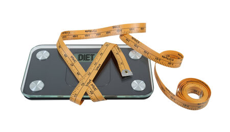 Bathroom scale used to help maintain health wrapped with measuring tape