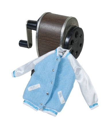 whittle: Student letterman jacket on a retro pencil sharpener - path included