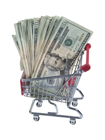 Metal Shopping cart full of money for shopping ease - path included