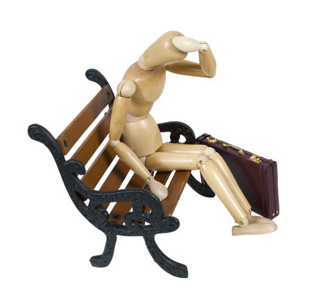 laidoff: Sitting on Bench with Briefcase and His Head in his Hand - path included
