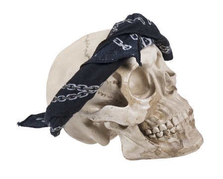 Skull Wearing a Black Bandana - Path included Stock Photo