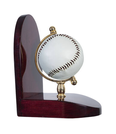 Baseball bookend made out of wood holding the winning ball - path included