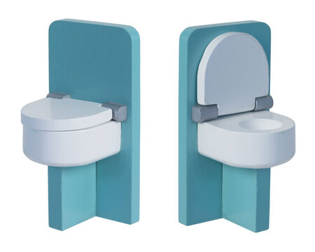 loo: Green toilet with wooden seat shown with seat down and seat up - path included Stock Photo