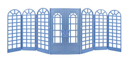 Blue Room Divider with curved tops and Doors - path included