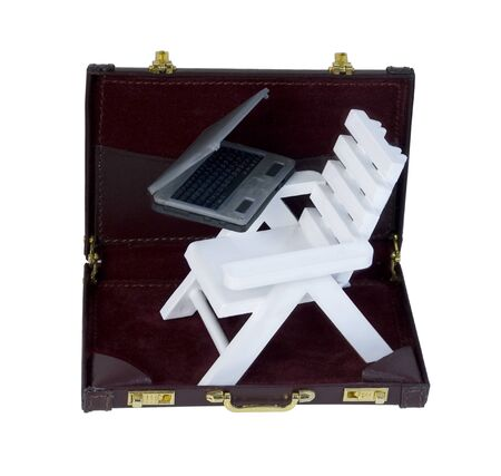 adirondack: White Adirondack Beach Chair and Laptop in a Briefcase  path included Stock Photo