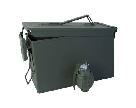 drab: Military Ammunition Case in drab olive that secures on one end with a hand grenade  path included Stock Photo