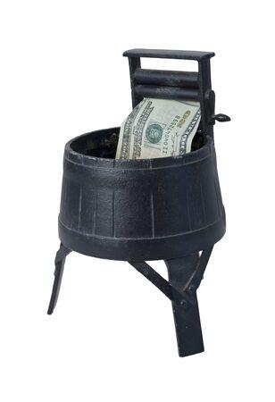 dinero falso: Lavadora del vintage con exprimiendo Rodillos lavado de dinero - ruta incluido
