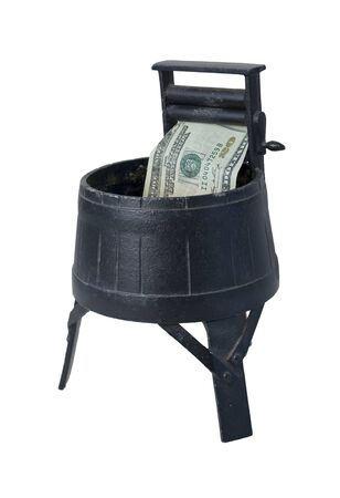 monies: Vintage Washing Machine with Squeezing Rollers laundering money - path included