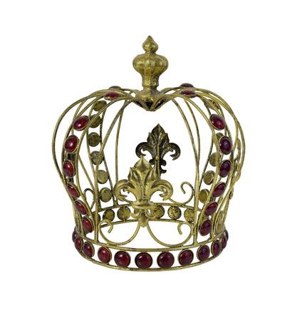 embellished: Red Gem Embellished Golden Crown - path included Stock Photo