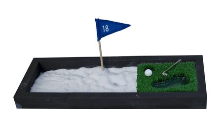 sand pit: Golf Club and Ball next to a big Sand Pit - path included
