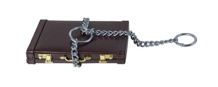 choke: Large Heavy metal chain creating a cable of strength for a choke chain on a briefcase - path included Stock Photo