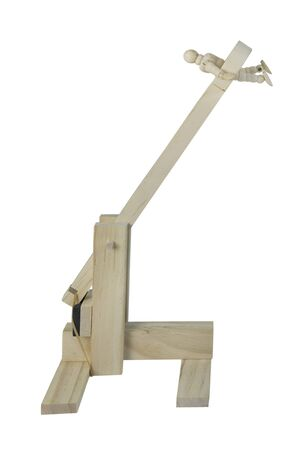 fling: Person in a wooden catapult used to hurdle objects at an opponent - path included