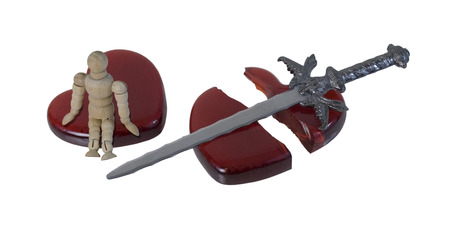 cleave: Person Sitting on a Shattered Heart with a Sword - path included