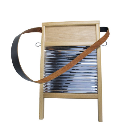 strap: Retro wood and metal washboard with leather strap used to wash clothing - path included Stock Photo