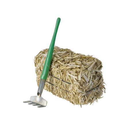 bundled: Large bale of bundled yellow hay with a rake - path included Stock Photo