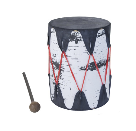 stretched: Single Drum with stretched skin over a tree bark frame - path included