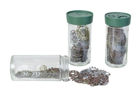 interlink: Several jars full of various gears with interlinking teeth and cogs - path included