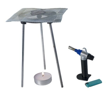 grating: Tripod burner with mesh grating with torch and flame for soldering items - path included Stock Photo