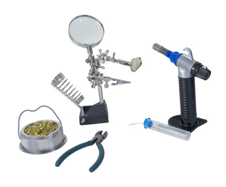 Soldering tools including torch used to solder metal together - path included