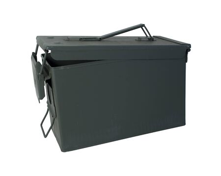 Military Ammunition Case in drab olive that secures on one end - path included