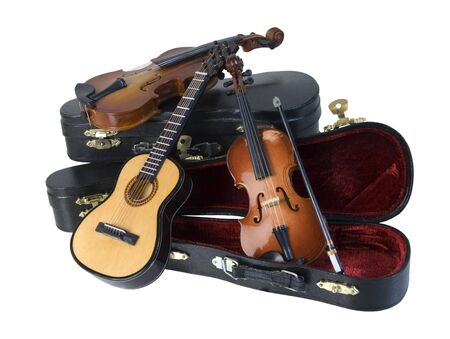 violins: Classical wooden Guitar and Violins with with molded carrying case - path included
