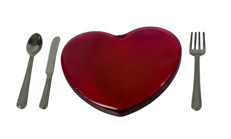 glass heart: Red glass heart with silverware - path included