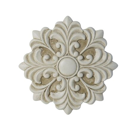medallion: White floral decorative medallion - path included Stock Photo