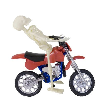 Skeleton Riding Red and Blue Motorcycle - path included Reklamní fotografie