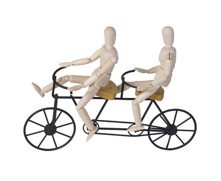 Bicycle built for two riders - path included
