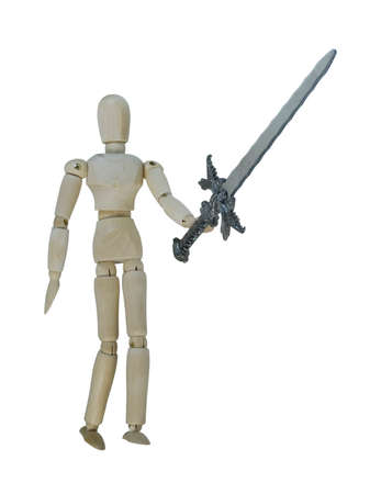 holding up: Man holding up a heavy sword - path included